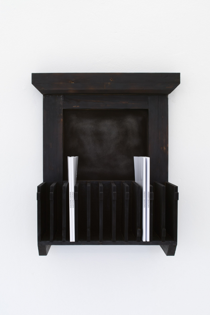 Balcony with Filing System and Books, 2019, Burnt and oiled wood and MDF, artist books