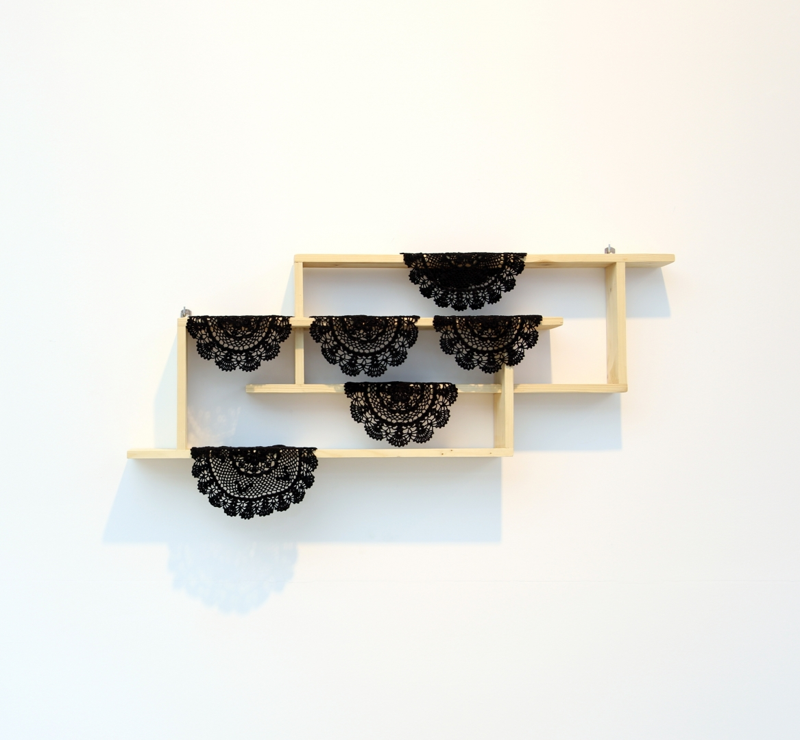 Reproduction of a shelf (like a negative) in Sour Tits, CCF, Beirut, 2013